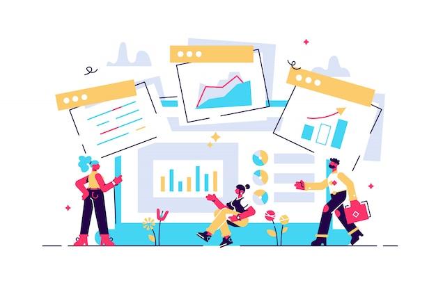Concept digitale marketing, teamwork, website-codering, seo-illustratie, data-analyse en investeringen