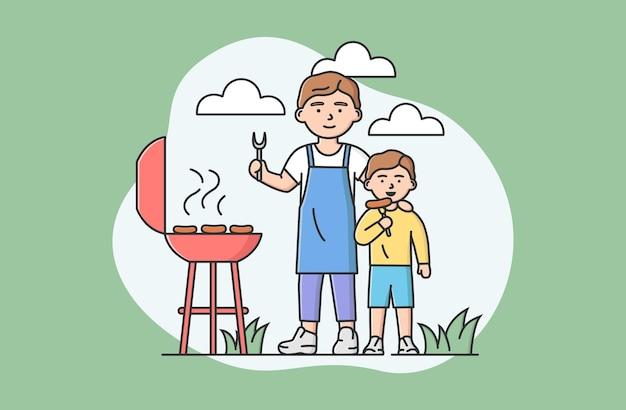 Concept familie tijd doorbrengen. gelukkige vader en zoon die samen buiten grill maken. mensen bakken worst, communiceren en hebben samen plezier. cartoon lineaire omtrek platte vectorillustratie.