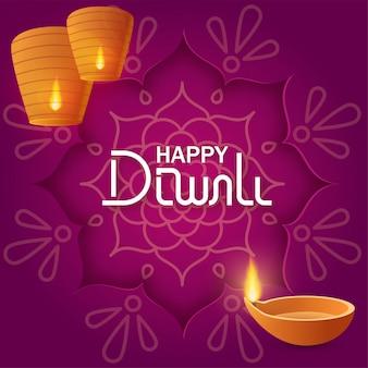 Concept festival diwali met papieren rangoli op paarse achtergrond met tekst belettering happy diwali, papieren hemellantaarns en diya olielamp voor banner of kaart
