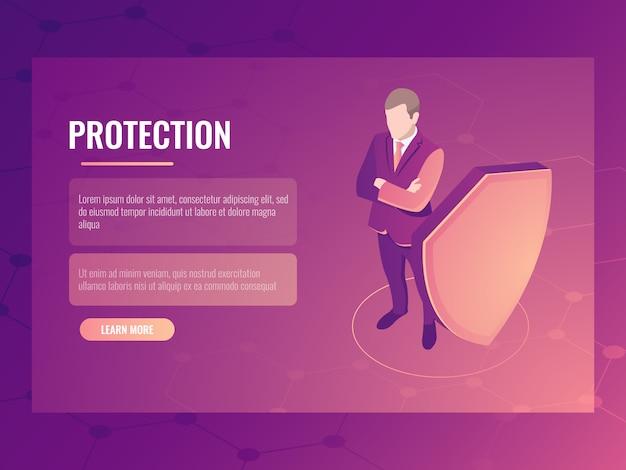 Concept financiënveiligheid en risicobescherming, zakenman met schild, gegevensbescherming