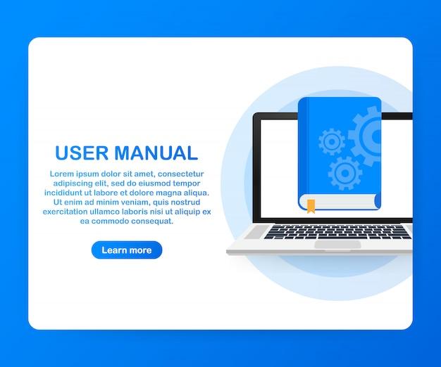 Concept gebruikershandleiding boek voor webpagina, banner, sociale media.