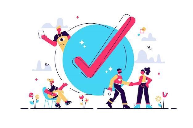 Concept gedaan werk, checklist, pc-monitor met lange papieren document en takenlijst met selectievakjes, illustratie