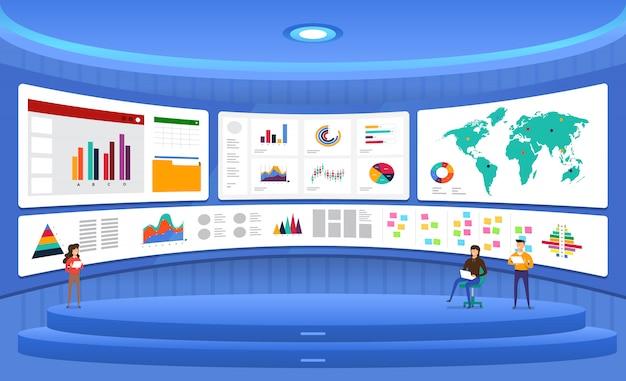 Concept gegevensanalyse. visualiseer met marketinggroei in grafieken en diagrammen. illustratie.