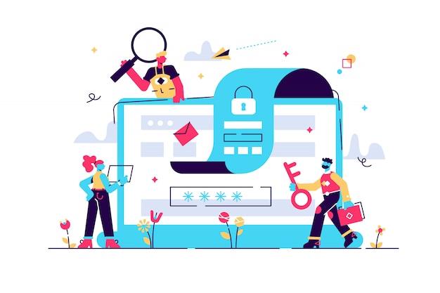Concept gegevensbescherming, beveiliging, veilig werken voor webpagina's, de bescherming van persoonlijke gegevensbanners, sociale media, documenten, kaarten, posters. illustratie gdpr, bestandsbeveiliging. privacy concept.