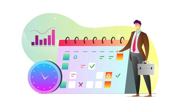 Concept geïllustreerd man statistiek grafiek schema creatieve sjabloon