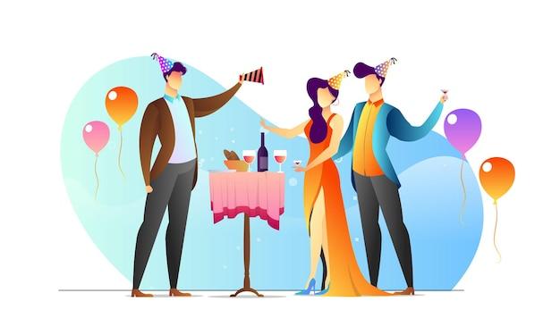 Concept geïllustreerd mensen verjaardagsfeestje creatieve sjabloon