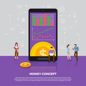 Concept geldzaken. groep mensen ontwikkeling pictogram munt geld. illustreren.
