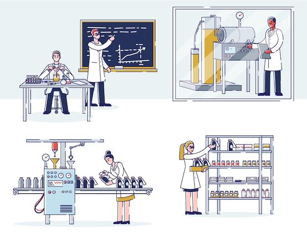 Concept geneeskundeproductie. wetenschappers doen onderzoek in het laboratorium, produceren medicijnen met professionele apparatuur, verpakken en bewaren in het magazijn.