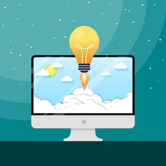 Concept gloeilamp raketlancering voor idee boost