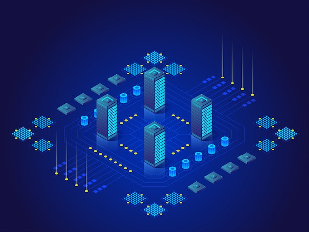 Concept grote gegevensverwerking, energiestation van toekomst