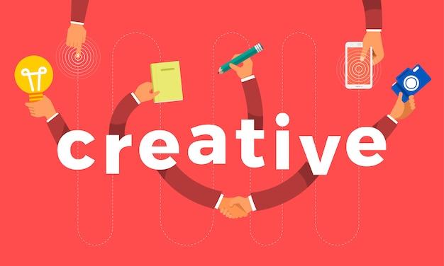 Concept hand maken symboolpictogram en woorden creatief. illustraties.