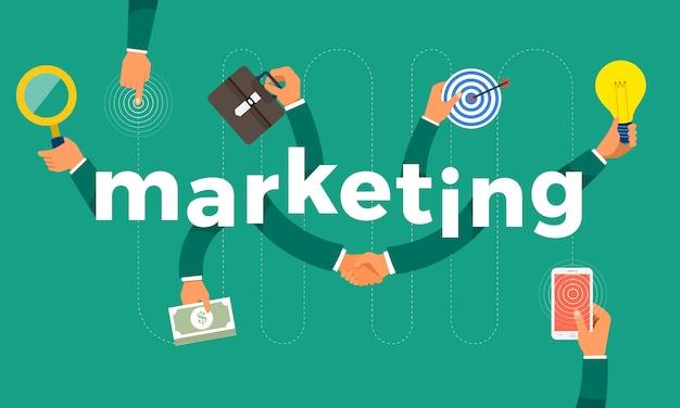 Concept hand maken symboolpictogram en woorden marketing. illustraties.