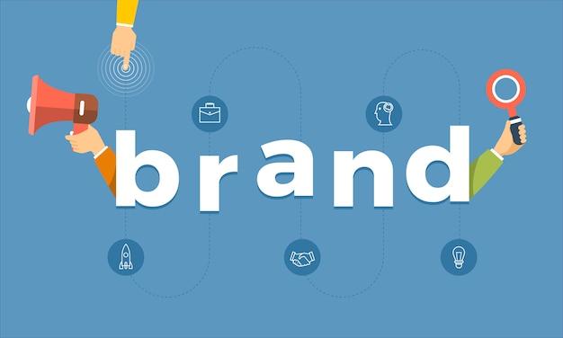 Concept hand maken symboolpictogram en woorden merk. illustraties.