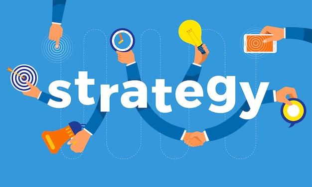 Concept hand maken symboolpictogram en woorden strategie. illustraties.