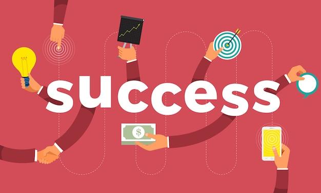 Concept hand maken symboolpictogram en woorden succes. illustraties.
