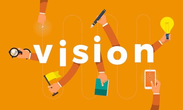 Concept hand maken symboolpictogram en woorden visie. illustraties.