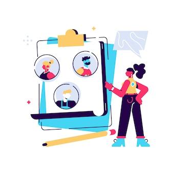 Concept human resources, werving. illustratie cv's invullen, werknemers inhuren, mensen vullen het formulier in