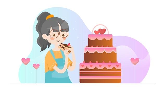 Concept illustratie kid eten cake valentine sjabloon