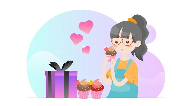 Concept illustratie kid eten cupcake valentine sjabloon