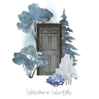 Concept illustratie met deur en botanische elementen, winter bomen en struiken, met de hand getekende illustratie.