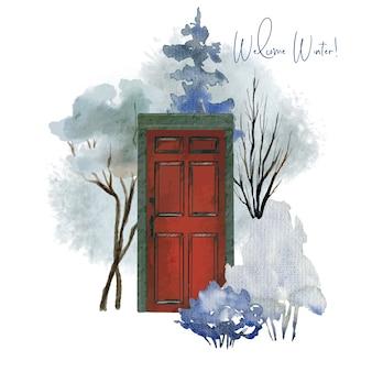 Concept illustratie met rode deur en botanische elementen, winter bomen en struiken, met de hand getekende illustratie.