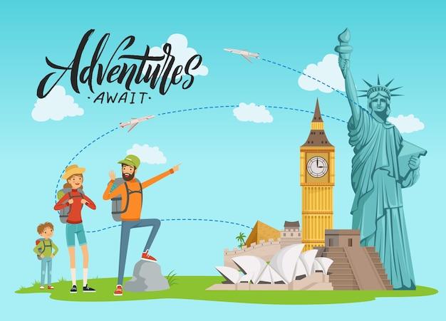 Concept illustratie met wereld bezienswaardigheden en gelukkige familie schilderij op hen met letters en wolken