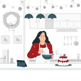 Concept illustratie ontwerp van een meisje koken en bakken een cake van kerstmis