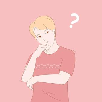 Concept illustratie van blonde man, jongen verward, denken, zich afvragen. hand getekend karakter