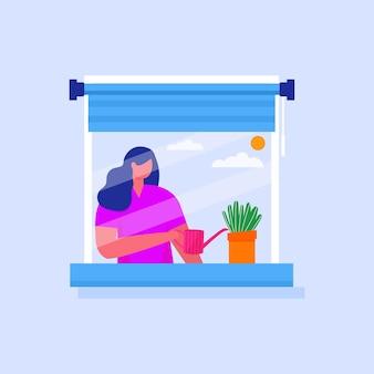 Concept illustratie van coworking ruimte. vrouw plant de bloemen thuis. zelfisolatie, quarantaine vanwege coronaviruspreventie. blijf thuis voor voorzorg covid - 19. vector