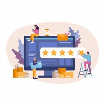Concept illustratie van e-commerce online shopping bedrijf. meisje laat een recensie achter.