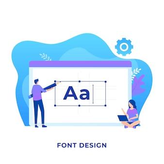 Concept illustratie van een persoon die een lettertype ontwerpt