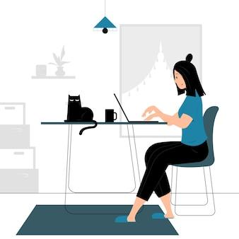 Concept illustratie van een vrouw die vanuit huis werkt, vergezeld van een kat. gevulde stijl plat ontwerp