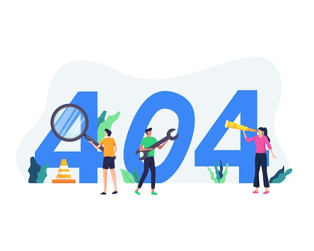 Concept illustratie van paginafout 404. website onderhoud fout, webpagina in aanbouw concept. probleem met 404 internetverbinding weergegeven. in vlakke stijl