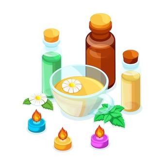 Concept, illustratie van producten tegen influenza, natuurlijke producten voor immuniteit en kalmerende theekamille en munt