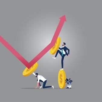 Concept illustratie van team verandert richting van financiële pijl, financiële bedrijfsconcept