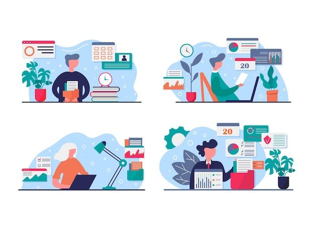 Concept illustratie van thuis werken, coworking space. mensen die thuis aan een laptop werken. zelfisolatie, quarantaine vanwege coronaviruspreventie. blijf thuis voor voorzorg covid - 19. vector