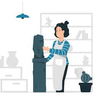 Concept illustratie vector grafisch ontwerp van een vrouw / beeldhouwer die een standbeeld maakt.