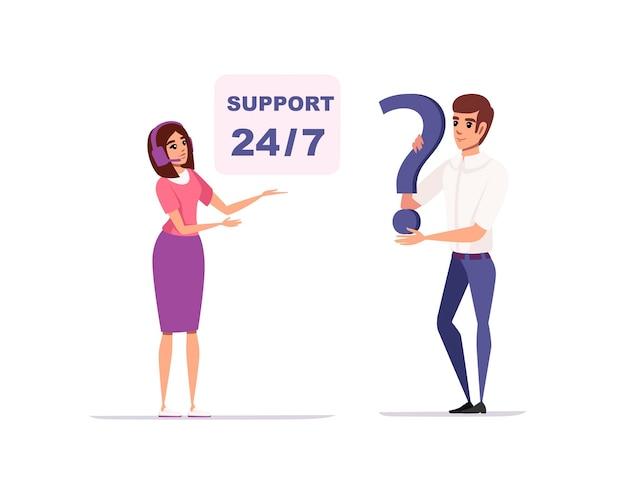Concept klantenondersteuning en operator online technische ondersteuning 247 stripfiguurontwerp