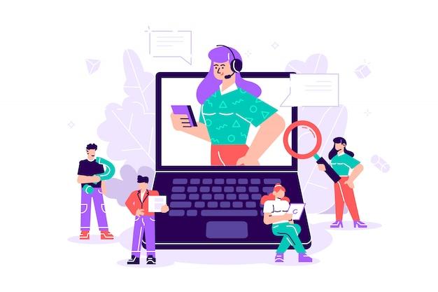 Concept klantenservice, hotline operator adviseert klant