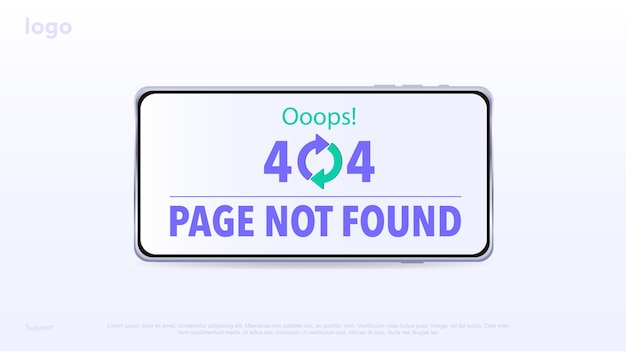 Concept laden pagina voor sites fout pagina pagina niet gevonden fout 404 fout oeps