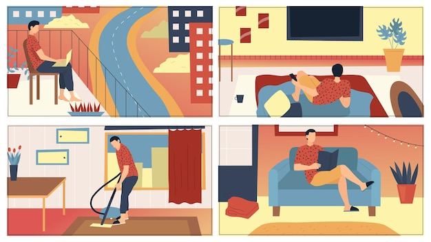 Concept man vrije tijd thuis