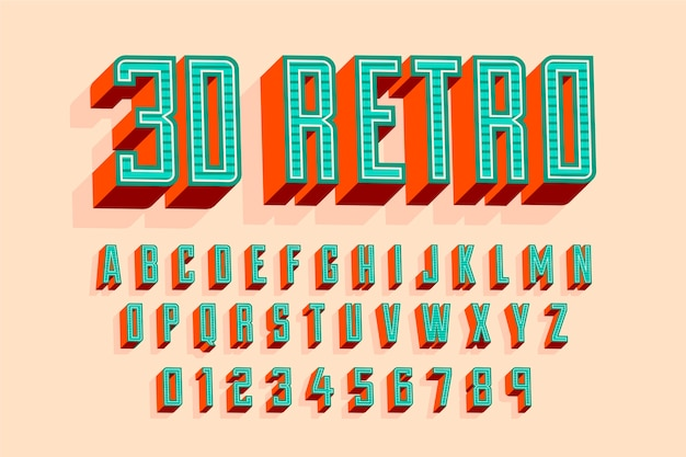 Concept met 3d retro alfabet