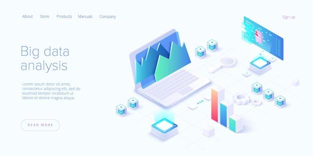 Concept met laptopcomputer, grafieken, diagrammen, grafieken en plaats voor tekst. hulpmiddelen voor gegevensanalyse, bestemmingspagina voor statistische of financiële analyse Premium Vector