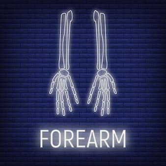 Concept onderarm bot pictogram gloed neon stijl, skelet deel organisme, röntgen menselijk lichaamsbeeld geïsoleerd op zwarte, platte vectorillustratie. silhouet zwarte biologische wetenschap.