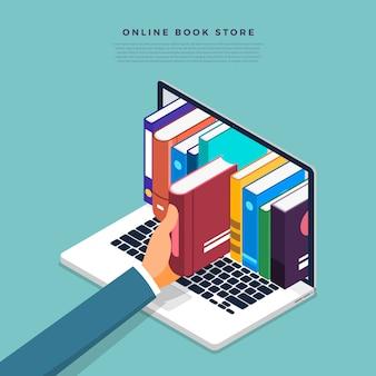 Concept online boekenwinkel. handmatig boek van internetapparaat. illustreren.