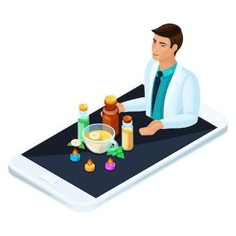 Concept online geneeskunde, producten van alternatieve geneeskunde. artsen met aanbevelingen over traditionele geneeskunde