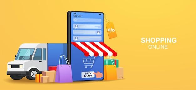 Concept online service levering goederen. smartphone met applicatie voor het volgen van online bestellingen, chatbericht, levering aan huis en op kantoor.