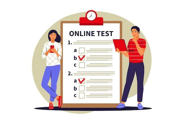 Concept online testen, e-learning, examen op computer of telefoon. vector illustratie. vlak