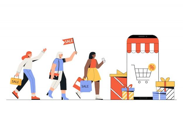 Concept online winkelen, mensen kopen van mobiele app.