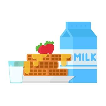 Concept ontbijtwafels met aardbeien en melk
